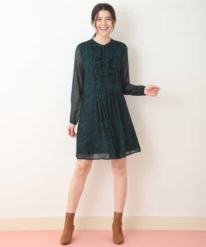 TARA JARMON(タラジャーモン) フリルプリーツデザインドレス ネイビー 44