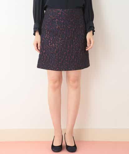 TARA JARMON(タラジャーモン) ジャガードデザインショートスカート ネイビー 42